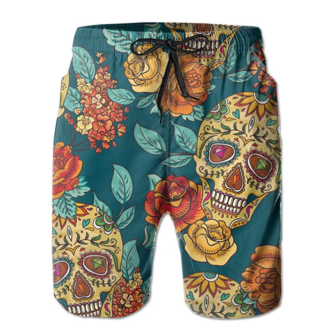 Men's Quick-dry Diamond And Flowers Skull Beach Shorts