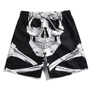 Men's White Skull Printed Board Shorts Quick Dry Surfing Beach Loose Swim Shorts