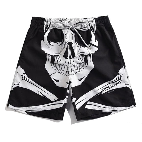 Men's Skull Print Quick Dry Loose Beach Swim Shorts
