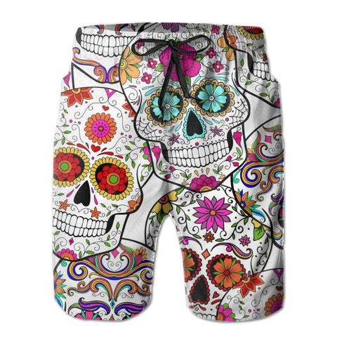 Men's Skulls Abstract Beach Board Breathable Shorts