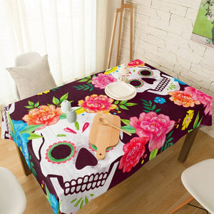 Mexican Skull Red Flowers Print Table Cloth & Dining Chair Covers
