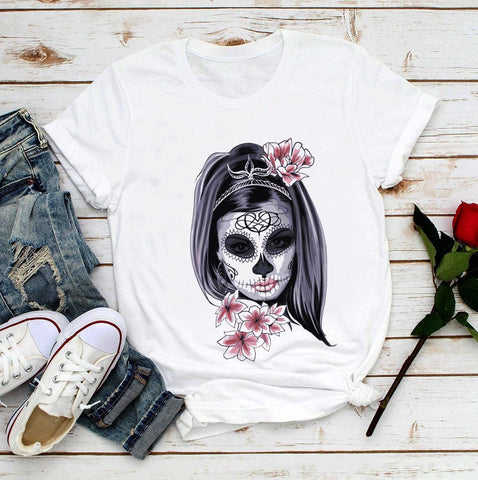 Women's Mexico Day of the Dead Skull Casual T Shirt