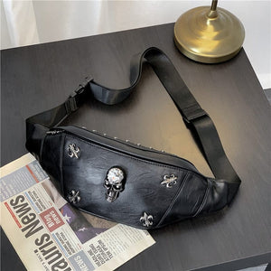 Skull Rivet Shoulder or Fanny Pack