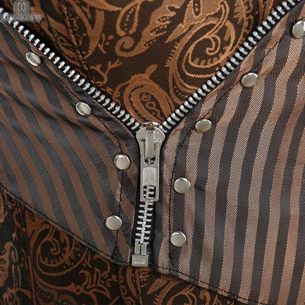 Steampunk Gothic Boned Zipper Brown Woman's Corset