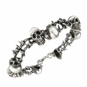 🔥 No Man's Land Skulls & Barbed Wire Bracelet 💀