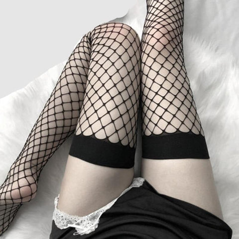Fishnet Transparent Over Knee Black or White Thigh High Gothic Stocking