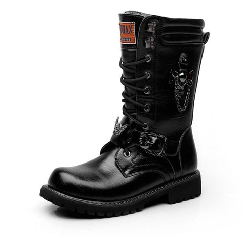 Army Boots Men's Chain Military Combat Skull Metal Buckle Lace Up