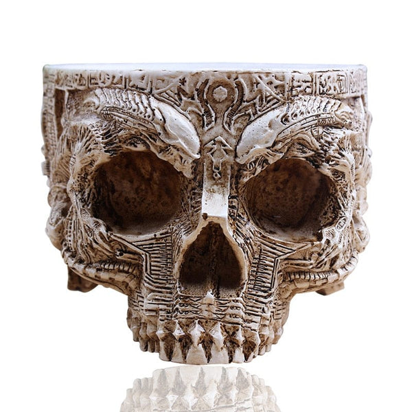 White Antique Sculpture Skull Planter Garden Pot