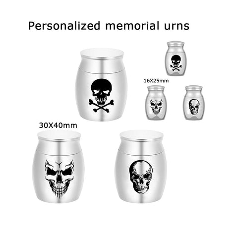 Personalized Skull Cremation Urn for Pet Ashes Silver or Blue Keepsake