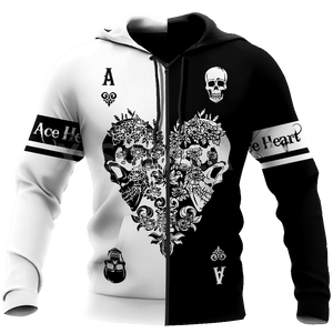 Poker Ace Heart Skull Print Pullover, Zipper Hoodie or Sweatshirt