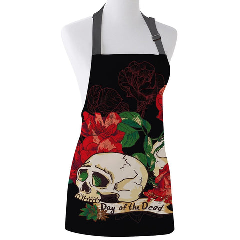 Red Rose Mexico Skull Print Unisex Kitchen Adjustable Apron