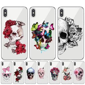 Skulls With Roses Pattern Phone Case For iPhone Soft TPU Silicone Cover