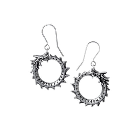 Round Norse Midgard Serpent Earrings