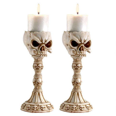 Set of Two Skull Bone Finish Candlesticks