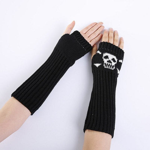 Skull Warm Punk Knit Arm Sleeve Fingerless Touch ScreenGloves
