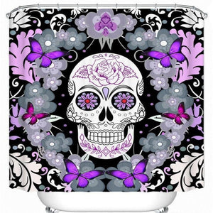 Skull Flowers Butterfly Purple Bathroom Shower Curtain