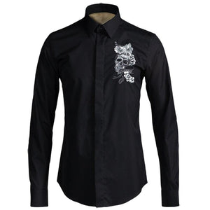 Skull Flower Embroidery Men's Dress Shirt 2 Colors