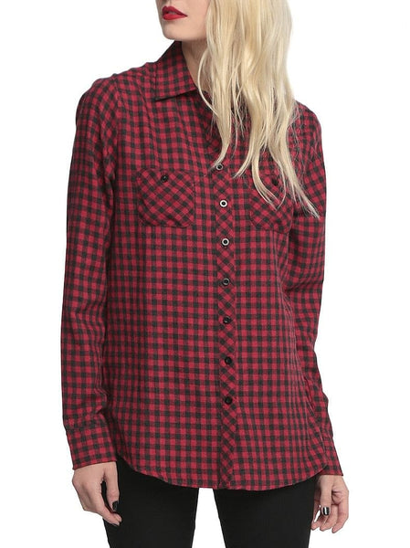 Skull Hollow Out Women's Plaid Long Sleeve Blouse