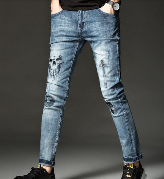 Men's Skull Soft Stretch Cotton Light Blue Casual Jeans