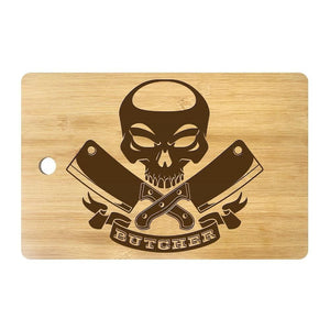 Skull with Crossed Meat Cleavers Cutting Board