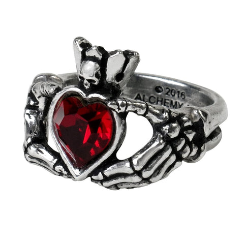 Skull Red Heart Love, Friendship and Loyalty Ring