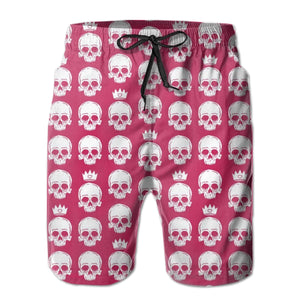 Skulls And Crowns Pattern Quick Dry Swimming Shorts For Men