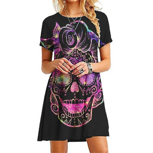 Women's Skull Pattern Short Sleeve Casual Short Dress 12 Patterns
