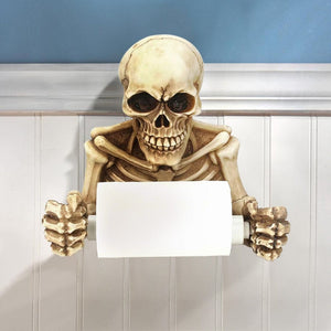Skull Grinning Medieval Toilet Paper Holder Resin