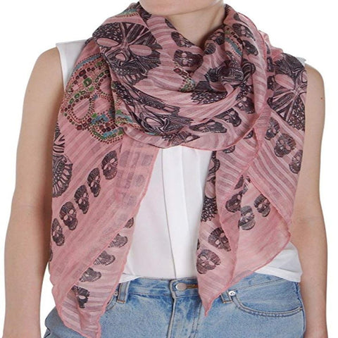 Sugar Skull Scarf Long Oversized Lightweight
