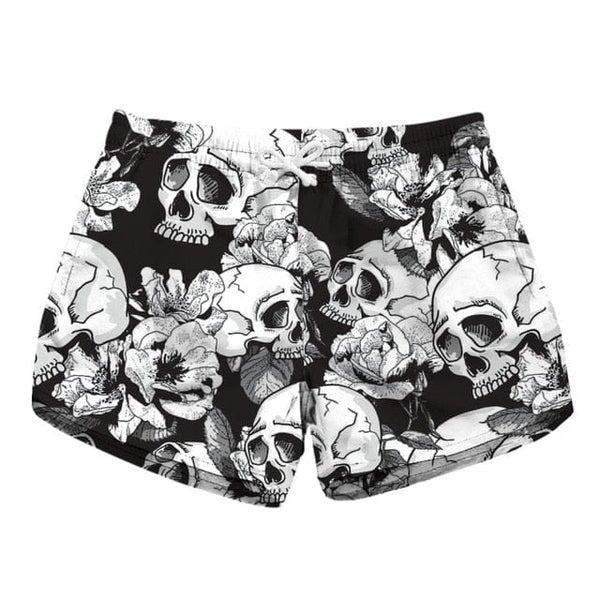 Women Beach Shorts Skull Floral Print Quick Dry 6 Patterns