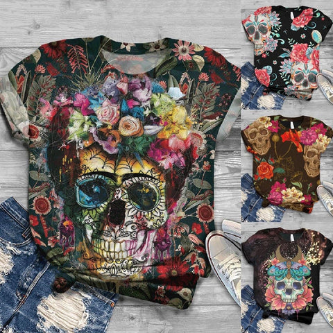 Women's Short Sleeve Skull Printed O-Neck T-Shirt