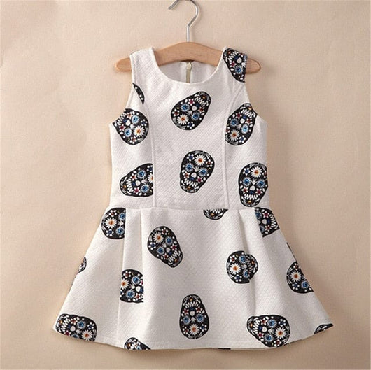 Girls Skull Dress A-line Fashion Sleeveless Kids Clothes - Skull Clothing and Accessories Skull only Merchandise