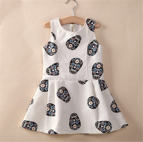 Girls Skull Dress A-line Fashion Sleeveless Kids Clothes