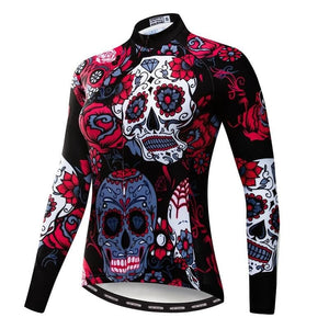 Women's Long Sleeve Cycling Jersey Bicycle Clothing Skull Print 5 Patterns