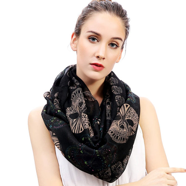 Sugar Skull Print Infinity Loop Snood Scarves 3 Colors