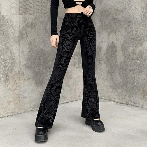 Women's Floral Scratched Velvet High Waist Flare Pants