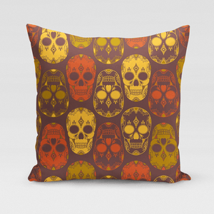 Orange & Yellow Sugar Skulls Pillow Cover