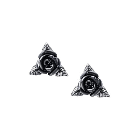 Ring Of Black Roses Ear Studs