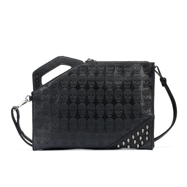 Skull Print Rivet Clutch Handbags - Skull Clothing and Accessories Skull only Merchandise