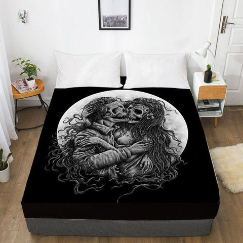 Two Skulls Kissing Fitted With Elastic Bed Sheet - Skull Clothing and Accessories Skull only Merchandise