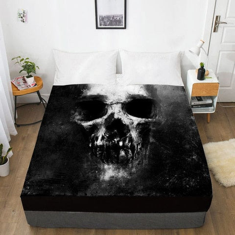 Scary Dark Skull Fitted With Elastic Bed Sheet - Skull Clothing and Accessories Skull only Merchandise