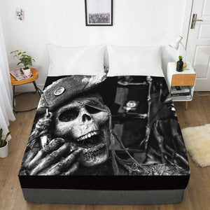 Laughing Skull Fitted With Elastic Bed Sheet - Skull Clothing and Accessories Skull only Merchandise