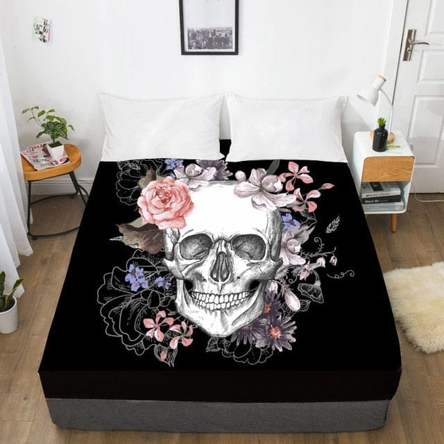 Skull Flowers Fitted With Elastic Bed Sheet - Skull Clothing and Accessories Skull only Merchandise