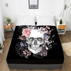 Skull Flowers Fitted With Elastic Bed Sheet