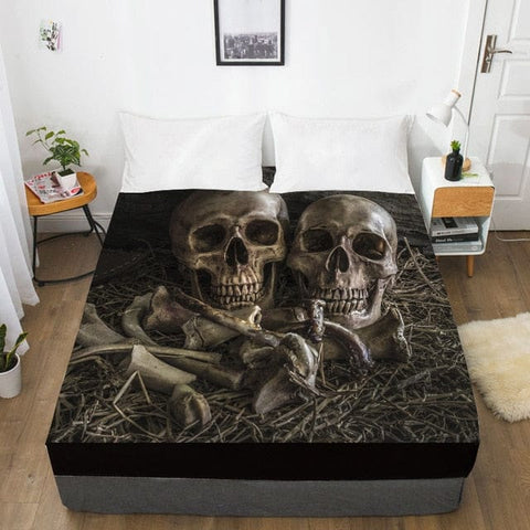 Two Skulls Graveyard Fitted With Elastic Bed Sheet - Skull Clothing and Accessories Skull only Merchandise