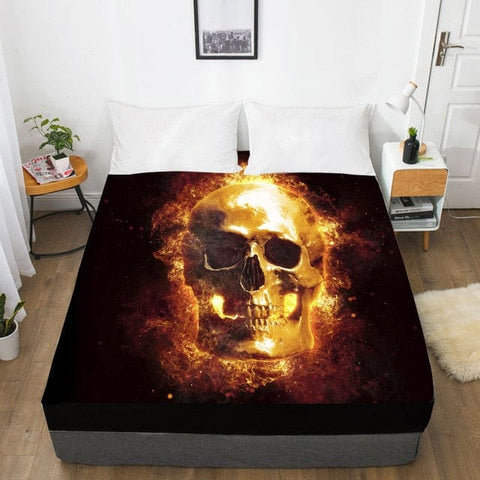 Fire Skull Fitted With Elastic Bed Sheet - Skull Clothing and Accessories Skull only Merchandise