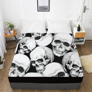 Many Skulls Fitted With Elastic Bed Sheet - Skull Clothing and Accessories Skull only Merchandise