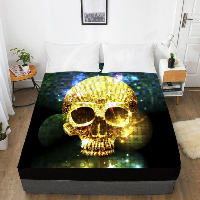 Gold Skull Fitted With Elastic Bed Sheet - Skull Clothing and Accessories Skull only Merchandise