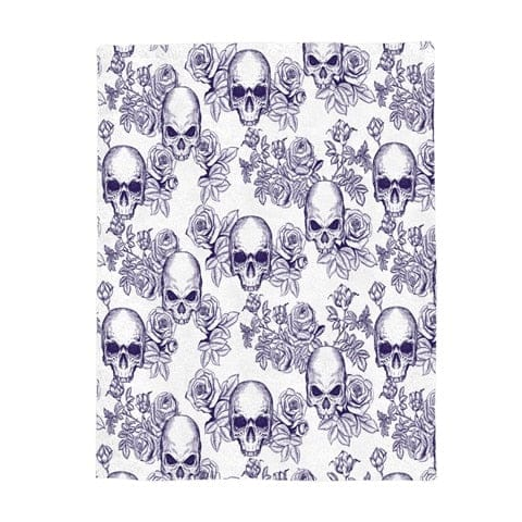 Gray Skull Throw Warm Microfiber Blanket - Skull Clothing and Accessories Skull only Merchandise