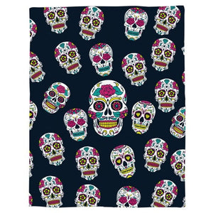 Blue Colorful Skulls Throw Warm Microfiber Blanket - Skull Clothing and Accessories Skull only Merchandise